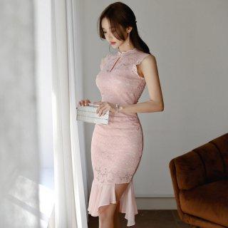 韓国ワンピース❤韓国ドレス 大人可愛いピンクノースリーブのきれいめタイトドレス