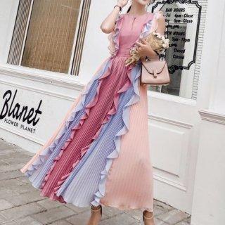 韓国ワンピース❤韓国ドレス ピンクフリルプリーツが幻想的な個性的ロングワンピース
