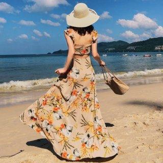 韓国ワンピース❤花柄バックコンシャスのとっても大人可愛いリゾートワンピ