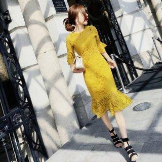 韓国即納ワンピース❤韓国ドレス お呼ばれに使える総レースの大人可愛いドレス