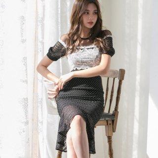 韓国セクシーワンピース❤フラワーレースとドット柄大人可愛い韓国ドレス