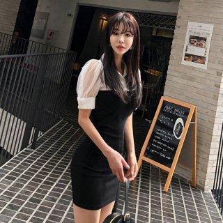 韓国ワンピース❤袖のシースルーパフスリーブが個性的なバイカラーミニワンピ