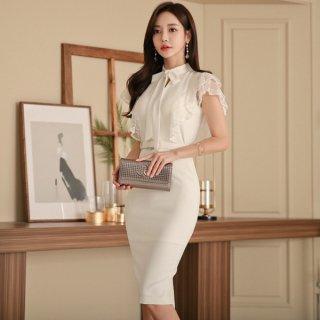 韓国セクシーワンピース❤清楚大人可愛いホワイトボウタイリボンの韓国ドレス