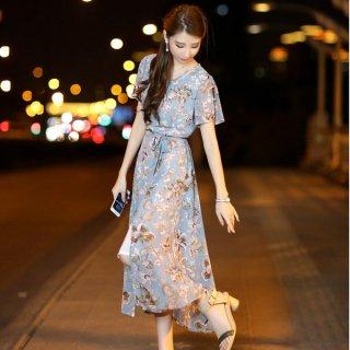 韓国ワンピース❤花柄大人可愛いスリットのロングワンピース