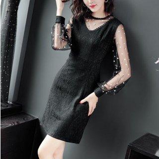 韓国ワンピース❤韓国ドレス 大人可愛いドットシースルーのブラックドレス