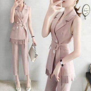 韓国セットアップ❤ジャケット裾のプリーツ可愛いセットアップ