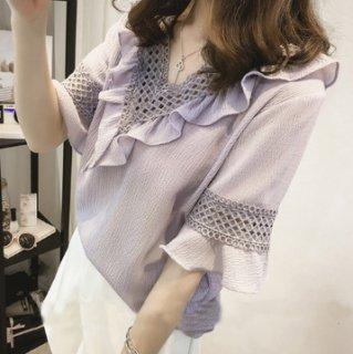 韓国トップス❤ブラウス フリル可愛いフェミニンシャツ