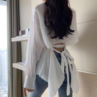 韓国トップス❤ブラウス バックリボンコンシャスが大人可愛いデザインのシャツ