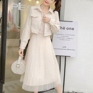 韓国ワンピース❤キャミソール・チュールスカートワンピにジャケットのセットアップ