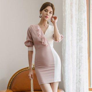 韓国ワンピース❤韓国ドレス バイカラーフリルタイトセクシーワンピ