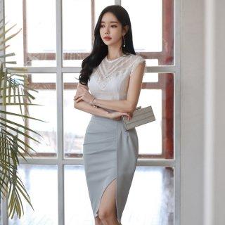 韓国ツーピース❤韓国ドレス 清楚でタイトな夏のワンピース