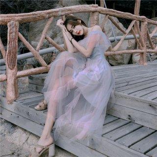 韓国ワンピース❤韓国ドレス 大人可愛いオフショルダーシースルーロングワンピ