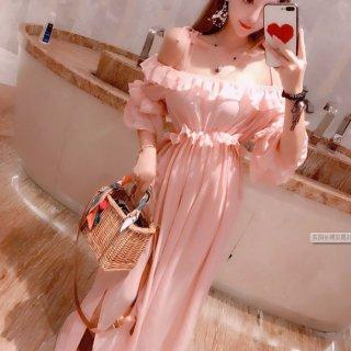 韓国ワンピース❤韓国ドレス フリルオフショルのピンク可愛いマキシワンピ