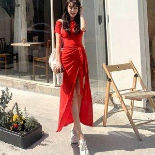 韓国ワンピース❤タイトミニにラップの巻きスカートでセクシーお洒落なレッドワンピ
