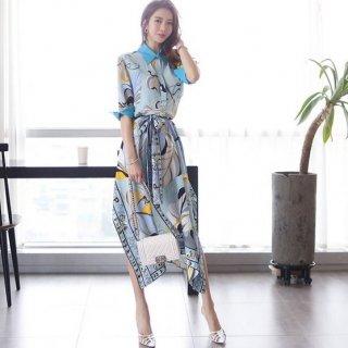 韓国ワンピース❤知的で大人可愛い襟付きブルーのエキゾチック柄ワンピース