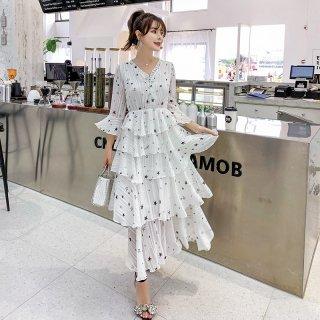 韓国ワンピース❤星柄ティアードスカートのとっても大人可愛いロングワンピ