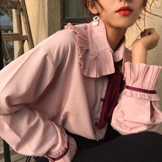 韓国ブラウス❤トップス フリルリボンがフェミニンで可愛い