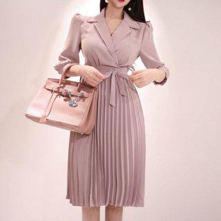 韓国ワンピース❤大人女子のジャケットプリーツななピンクワンピ