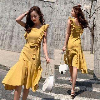 韓国ワンピース❤フリルがとっても可愛い夏のノースリーブワンピ