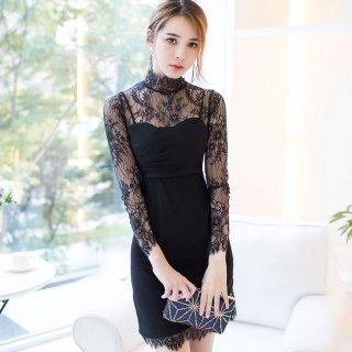韓国ワンピース❤韓国ドレス 大人可愛い花柄レースとスカート裾のアシンメトリー