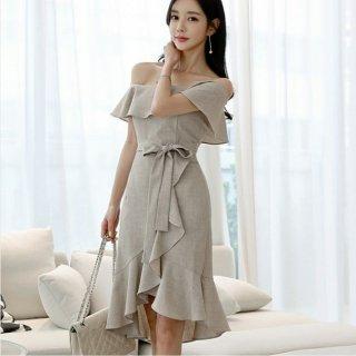 韓国ワンピース❤韓国ドレス オフショルダーにドキっとしちゃうフリルスカート清楚ワンピ