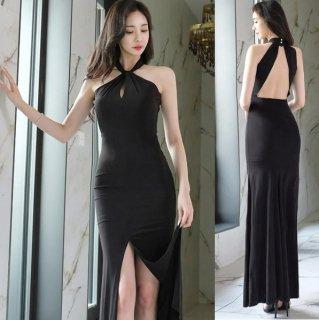 韓国ワンピース❤韓国ドレス とっても、どセクシーなバックオープンホルターネックロングワンピ