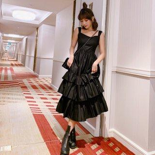 韓国ワンピース❤夏の大人可愛いティアードスカートのキャミワンピ