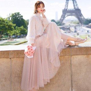 韓国ワンピース❤とってもコンサバティブで可愛いすぎるお嬢様ロングワンピ