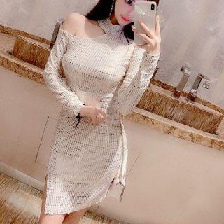 韓国ワンピース❤韓国ドレス ワンショルダーとゴールドキラキラとっても可愛いナイトミニドレス