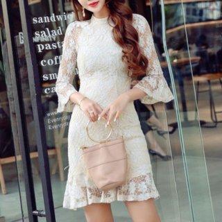 韓国ワンピース❤韓国ドレス シースルーフレア袖のとっても可愛い花柄レースドレス