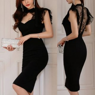 韓国即納ワンピース❤韓国ドレス 首元胸元セクシー可愛いバックオープン花柄レースのブラックタイトドレス