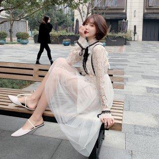 韓国ワンピース❤韓国ドレス ガーリーフリル可愛いふんわりレースのカジュアルドレス
