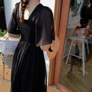 韓国ワンピース❤ナチュラルフェミニンな夏の韓国ファッションミモレワンピ