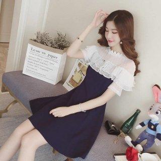 韓国即納Sワンピース❤とってもお嬢様のフリルフェミニンガーリーなミニワンピ
