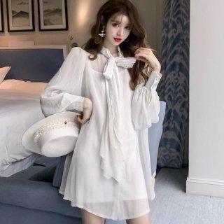韓国ワンピース❤韓国ドレス リボンがとっても可愛いシャツワンピ風ドレス