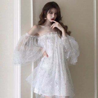 韓国ワンピース❤韓国ドレス 星柄スパンコールオフショルセクシー可愛いミニワンピ