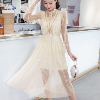 韓国ワンピース❤プチプラドレス 胸元エレガント大人な高見えフェアリーお嬢様ドレス