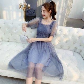 韓国ワンピース❤プチプラドレス シースルーパフスリーブなフェアリードレス