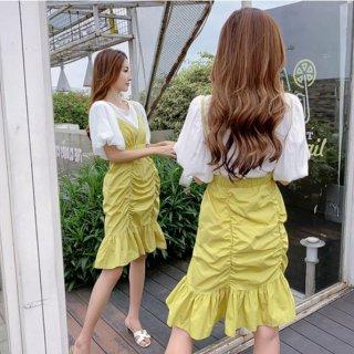韓国ワンピース❤袖可愛いシャツとセットの可愛いキャミワンピ
