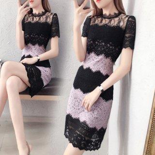 韓国ワンピース❤バイカラー大人の魅力のブラックパープルレースタイトドレス