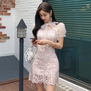 韓国ワンピース❤パーティードレス リボン可愛いシースルーの花柄ミニワンピ