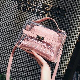 韓国即納有ショルダーバッグ❤クリアバッグの中にポーチバッグが入ったおしゃれな作り!