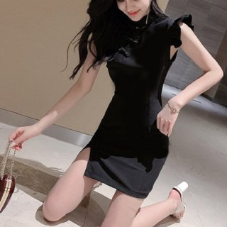 韓国ワンピース❤韓国パーティードレス フリル可愛いチャイナドレス風のブラックドレス