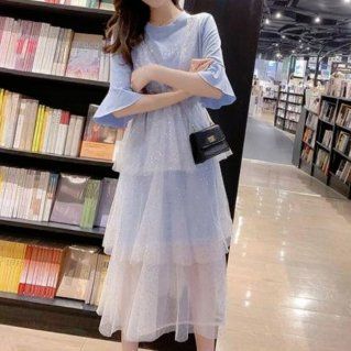 韓国ワンピース❤ロゴTシャツワンピにスパンコールの幻想的ティアードスカートのロングワンピ