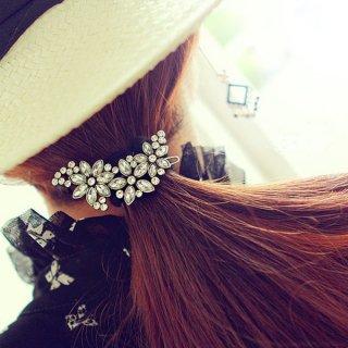 韓国即納 ヘアドレスピン❤レトロフラワーフラッシュジュエリー 花柄とっても可愛いヘアアクセサリ