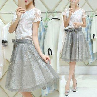 韓国ワンピース❤韓国パーティードレス とってもお嬢様ガーリー可愛いレースシースルーミニドレス