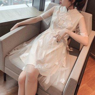 韓国ワンピース❤韓国パーティードレス お嬢様可愛いホワイト清楚なミニワンピ