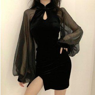韓国即納有ワンピース❤韓国パーティードレス バルーンスリーブとっても可愛いセクシータイトミニワンピ