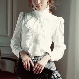 韓国トップス❤ブラウス とってもフェミニンガーリーなリボン可愛いエレガントブラウス