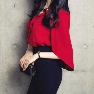 韓国トップス❤ブラウス ポンチョ可愛いきれいめ大人スタイリッシュデザインブラウス